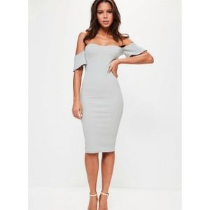 New 4 Missguided Gray Off Shoulder Bodycon Dress